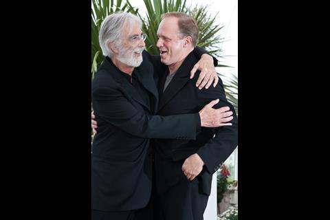 """(L-R) Director Michael Haneke and actor Ulrich Tukur at the photo call of """"The White Band"""" at the 62nd Cannes Film Festival in Cannes"""